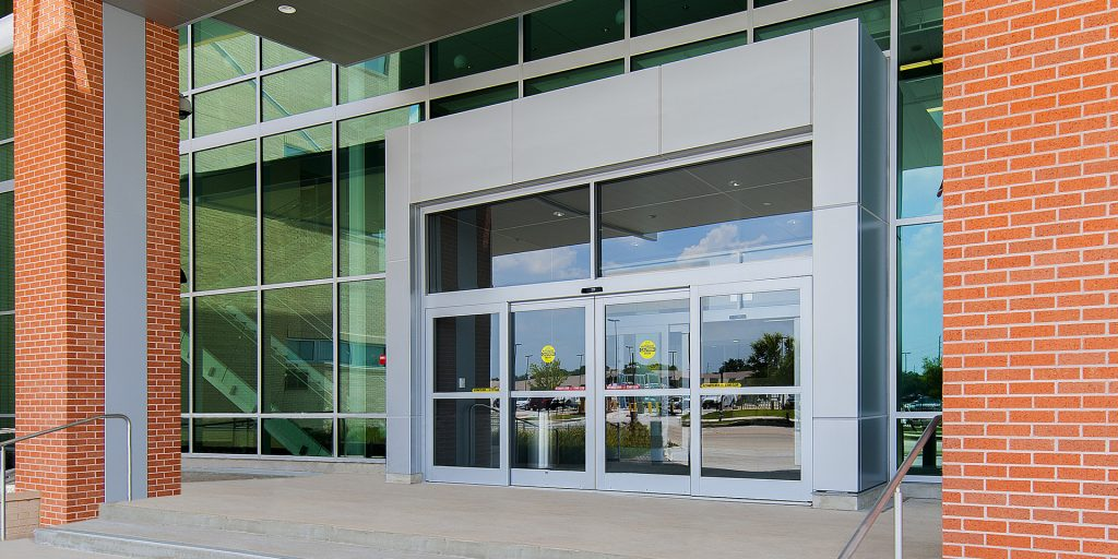 porta de vidro temperado de correr automática